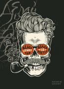 Hipster skull silhouette with mustache, and tobacco pipes in his teeth Stock Illustration