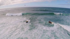 Aerial view of lifeguard surf rescue jet ski personal watercraft in Hawaii. Stock Footage