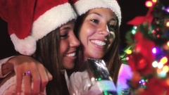 Beautiful Authentic Twin Sisters Giving Each Other Christmas Gifts Family Time Stock Footage