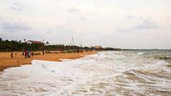 Ocean beach at Negombo, Sri Lanka. Time-lapse of waves Stock Footage