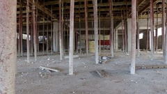 Building construction renovation interior with metal posts supporting ceiling Stock Footage