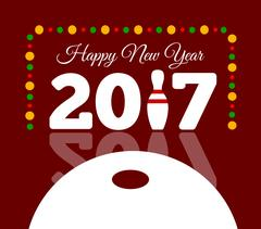 Congratulations to the happy new 2017 year with a bowling and ball Stock Illustration
