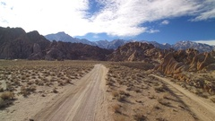 Sierra Nevada Mts Aerial Shot of Mount Whitney and Rocky Desert Driving Plate Stock Footage