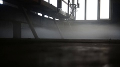 Fog in the room of a concrete plant Stock Footage