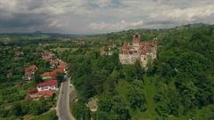 Flyover Dracula's castle in Transylvania Stock Footage