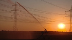 Sunset with a sprinkler system in summer Stock Footage