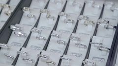 Showcase jewelry store: Diamond ring. Valentine's Day Gift Stock Footage