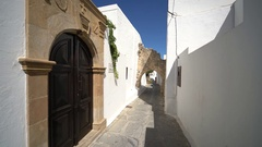 Alley in the old city of Lindos (Rhodes, Greece) Stock Footage