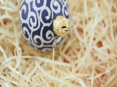 Purple ball on wood chips background Stock Footage