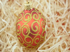 Red ball on wood chips background Stock Footage