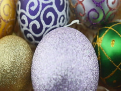 Colorful balls on wood chips background Stock Footage