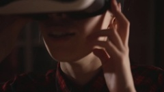 Pretty woman with virtual reality headset glasses Stock Footage
