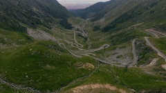 Aerial shot over famous Transfagarasan serpentine Stock Footage