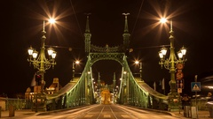 Time lapse. Traffic on Liberty bridge. Budapest Stock Footage