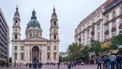 Time lapse. People on the square in front of saint Istvan church. Budapest Stock Footage