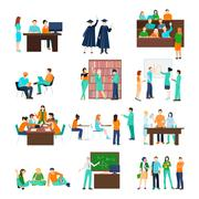 Higher Education Person Set Stock Illustration