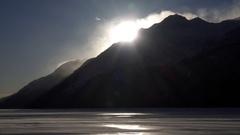 Wind Blast Mountain Summit and Arctic Windstorm Stock Footage