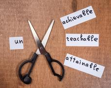 Self motivation concept. Negative words cut with scissors. Stock Photos