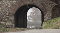 Kalemegdan fortress wall with passageway in Belgrade,Serbia Stock Footage