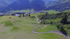 Aerial view of a mountain biker on a scenic singletrack trail. Stock Footage