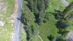 Aerial view of mountain bikers on a scenic singletrack trail. Stock Footage