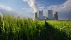 Power Station And Rye Field Stock Footage