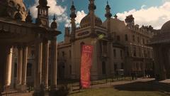 Closeup panning shot of the Royal Pavilion in Brighton, England, UK Stock Footage