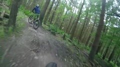 POV view of a mountain biker riding on a singletrack trail. Stock Footage