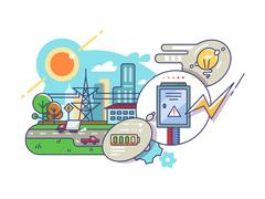 Energy and electricity supply Stock Illustration