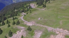 Aerial view of a mountain biker on a singletrack trail. Stock Footage
