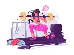 Fitness girl in gym Stock Illustration