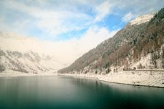 The Neves lake in the italian alps Stock Photos