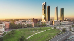 Madrid skyline panoramic view timelapse from day to night Stock Footage