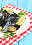 Prepared mussels in a plate Stock Photos
