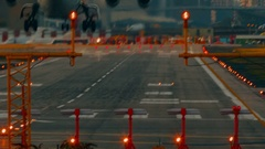 London City Airport - Ultra closeup showing the landing of a short-haul airliner Stock Footage