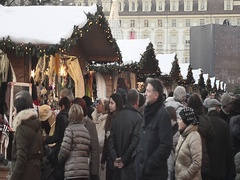 Shopping in Christmas market in Turin, Italy Stock Footage