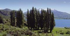 Aerial of countryside and farm, lake wanaka, New Zealand Stock Footage