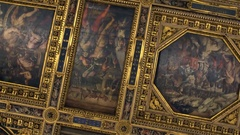 Beautiful ceiling of Palazzo Vecchio. Interior  Stock Footage