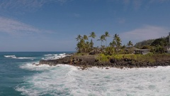 Aerial view of scenic ocean and landscape in Hawaii, slow motion. Stock Footage