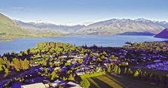 Aerial of wanaka town in the south island, New Zealand Stock Footage