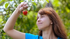 Girl in the garden eating red strawberry, on a green background Stock Footage