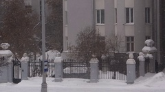 Winter in the city, view of a piece of home Stock Footage