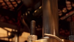 Ultra closeup view of an industrial engine piston in motion Stock Footage