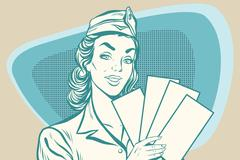 Retro stewardess with ticket Stock Illustration