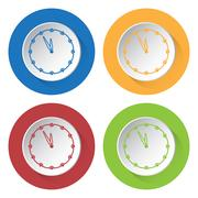 Four round color icons, last minute clock Stock Illustration