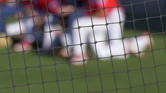 A baseball player catcher makes a play at a game, slow motion. Stock Footage