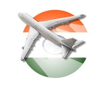 Plane and India flag. Piirros