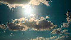 Environment shot showing the sky, sun, clouds and the coast of Brighton Stock Footage