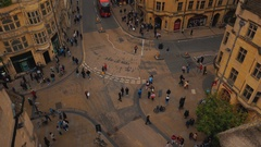 Top down wide angle view of the Oxford city center in England, UK Stock Footage
