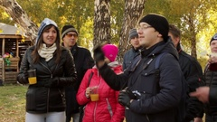 Russia, Novosibirsk, October 2, 2016 Group of friends playing darts outdoor Stock Footage